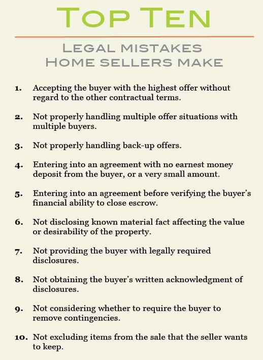 Top Ten Mistakes Sellers Make
