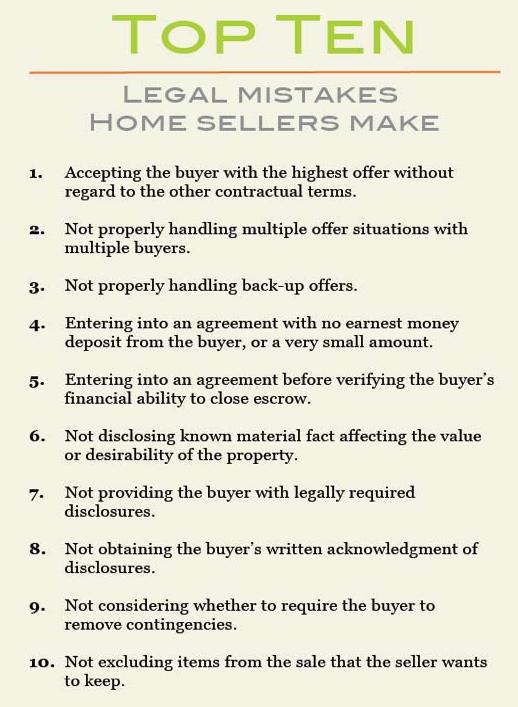Top Ten Mistakes Sellers Make